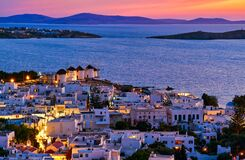 Free Beautiful Sunset View Of Famous Traditional White Windmills, Mykonos, Cyclades, Greece. Whitewashed Houses, Colorful Sky Stock Photos - 215507653