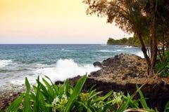 Beautiful sunset view of Onomea Bay on the Big Island of Hawaii. USA Stock Photography