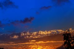 Beautiful sunset at the view point. Sunset sky clouds Stock Image