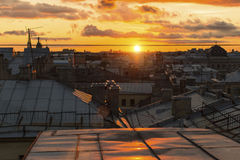 Beautiful sunset view from the rooftops historic center of St. Petersburg Royalty Free Stock Photos