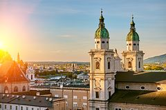 Beautiful sunset view of Salzburg Cathedral Dom zu Salzburg at Residenzplatz square in summer in Salzburg, Austria stock photography