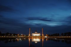 Beautiful sunset view of Songkhla Central Mosque. Hat Yai, Songkhla, Thailand - 30 April 2018: Beautiful sunset view of Songkhla Central Mosque or Masjid Royalty Free Stock Photos