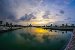 Beautiful sunset view of Songkhla Central Mosque. Hat Yai, Songkhla, Thailand – 1 May 2018: Beautiful sunset view of Songkhla Central Mosque or Masjid Songkhla Royalty Free Stock Photography