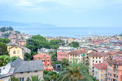 Beautiful sunset view from top to Santa Margherita Ligure city Stock Images