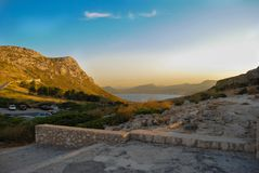 Mallorcan sunset. A beautiful sunset viewed over the coast of Mallorca and the mountainous landscape Stock Photography