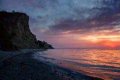 Beautiful sunset at Volga river cliff coast Stock Images