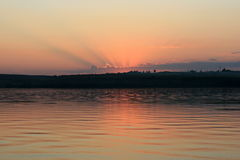 Sunset on the Volga River Royalty Free Stock Image