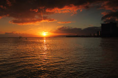 Beautiful sunset from Waikiki Beach Oahu, Hawaii Stock Images
