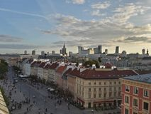 Sunset in Warsaw stock images
