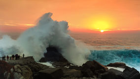 Beautiful Sunset and Wave. Amazing moment at the sunset Stock Images