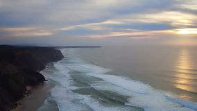 Beautiful sunset at the westcoast in Portugal stock video footage