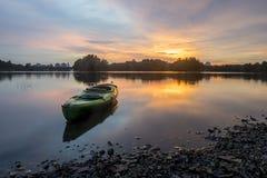 Beautiful sunset at Wetland , Putrajaya. Amazing sunset at Putrajaya with jetty and nice arrangement of canoes Stock Photography
