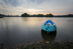Beautiful sunset at Wetland , Putrajaya. Amazing sunset at Putrajaya with jetty and nice arrangement of canoes Stock Images