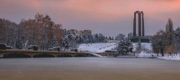 Beautiful Sunset Winter Landscape From Romania Royalty Free Stock Image