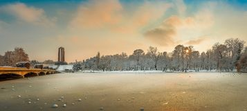 Beautiful Sunset Winter Landscape From Romania Stock Photo