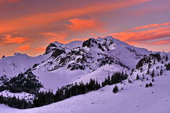 Beautiful sunset winter mountain landscape royalty free stock images