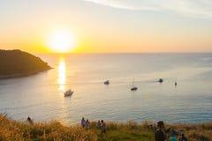 Beautiful sunset at Ya-nui beach, Phuket province Thailand Stock Photography