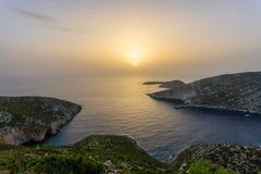 Beautiful sunset of zante island Royalty Free Stock Images