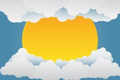 Beautiful sunsets over the clouds.paper art.vector illustration. Beautiful sunsets over the clouds.paper art stock illustration