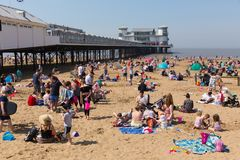 Weston-super-mare beach busy with holidaymakers on the May bank holiday weekend Stock Image