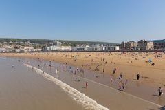 Weston-super-mare beach and seafront with people in the sea Stock Images