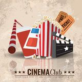 Beautiful Super Trendy Cinema Poster. Vector Illustration. Beautiful Super Trendy Cinema Poster. Popcorn bowl, disposable cup for drinks with straw, ticket, 3d Royalty Free Stock Images