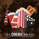 Beautiful Super Trendy Cinema Poster. Vector Illustration. Beautiful Super Trendy Cinema Poster. Popcorn bowl, disposable cup for drinks with straw, ticket, 3d Stock Photos
