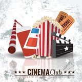 Beautiful Super Trendy Cinema Poster. Vector Illustration. Beautiful Super Trendy Cinema Poster. Popcorn bowl, disposable cup for drinks with straw, ticket, 3d Stock Photo