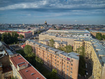 Beautiful super-wide angle aerial view of Kolomna district and St. Isaac cathedral, Saint-Petersburg, Russia. Royalty Free Stock Photos