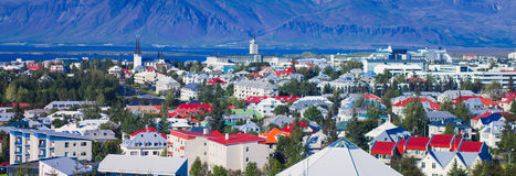 Beautiful super wide-angle aerial view of Reykjavik, Iceland wit Royalty Free Stock Photo