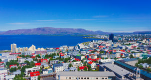 Beautiful super wide-angle aerial view of Reykjavik, Iceland wit Stock Photos