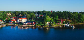 Beautiful super wide-angle aerial view of Stockholm archipelago skerries and suburbs with classic sweden scandinavian designed cot. Tage houses, view from Stock Photo