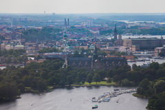 Beautiful super wide-angle panoramic aerial view of Stockholm, S. Weden with harbor and skyline with scenery beyond the city, seen from the ferry, sunny summer Royalty Free Stock Photography