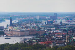 Beautiful super wide-angle panoramic aerial view of Stockholm. Sweden with harbor and skyline with scenery beyond the city. Beautiful super wide-angle panoramic Stock Image