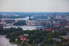 Beautiful super wide-angle panoramic aerial view of Stockholm. Sweden with harbor and skyline with scenery beyond the city. Beautiful super wide-angle panoramic Stock Photos