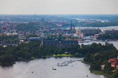 Beautiful super wide-angle panoramic aerial view of Stockholm. Sweden with harbor and skyline with scenery beyond the city. Beautiful super wide-angle panoramic Royalty Free Stock Photo