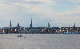 Beautiful super wide-angle panoramic aerial view of Stockholm. Sweden with harbor and skyline with scenery beyond the city. Beautiful super wide-angle panoramic Royalty Free Stock Image