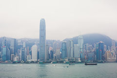 Beautiful super wide-angle summer aerial view of Hong Kong island skyline, Victoria Bay harbor, with skyscrapers, blue sky Royalty Free Stock Photo