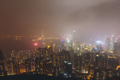 Beautiful super wide-angle summer aerial view of Hong Kong island skyline, Victoria Bay harbor, with skyscrapers, blue sky Royalty Free Stock Photos
