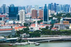 Beautiful super wide-angle summer aerial view of Singapore, with skyline, bay and scenery beyond the city, seen from the observati. On deck Stock Images