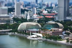Beautiful super wide-angle summer aerial view of Singapore, with skyline, bay and scenery beyond the city, seen from the observati. On deck Royalty Free Stock Images