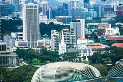 Beautiful super wide-angle summer aerial view of Singapore, with skyline, bay and scenery beyond the city, seen from the observati. On deck Royalty Free Stock Photography