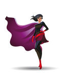 Beautiful superheroine in a pride pose suit. Vector illustration Royalty Free Stock Photography