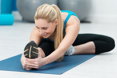 Beautiful supple woman working out in a gym Stock Image