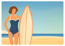 Beautiful surfer girl in 50s retro style Royalty Free Stock Photography