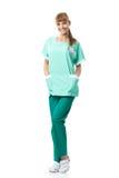 Beautiful surgeon portrait in green dress Royalty Free Stock Image