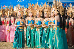 Beautiful Surin Thai Dancers Standing Royalty Free Stock Image