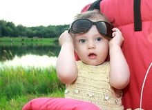 Beautiful surprised baby girl Stock Photography