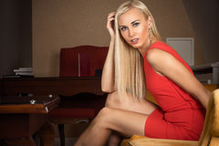 Beautiful surprised blond woman Royalty Free Stock Images