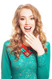 Beautiful surprised blond woman Stock Photos